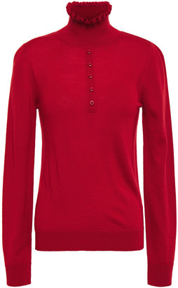 Carven Ruffle-trimmed Button-embellished Merino Wool Sweater