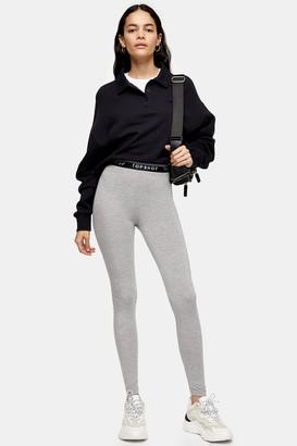 Topshop Womens Branded Elastic Leggings - Grey Marl