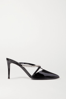Giuseppe Zanotti Crystal-embellished Patent-leather Mules - Black