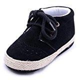 Newborn Infant Baby Girls Boys Crib Soft Sole Anti-slip Sneakers Shoes (6~12 Month, Black)