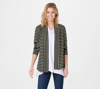 Denim & Co. Petite Essentials Striped Jersey Cardigan