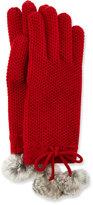 Neiman Marcus Cashmere Rabbit Fur Pompom Glove, Garnet Red