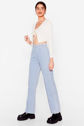 Nasty Gal Womens We've Seam You Before Wide-Leg Jeans - Light Blue