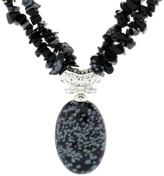 """Pinctore Sterling Silver 17.5"""" 30 x 20mm Oval Snowflake Obsidian 2-Strand Necklace"""