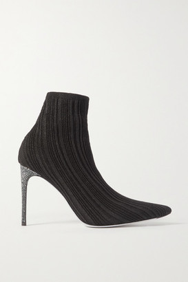 Rene Caovilla Crystal-embellished Metallic Ribbed-knit Sock Boots - Black