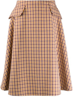 Lanvin checked A-line skirt