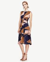 Ann Taylor Modern Geo Tie Waist Dress