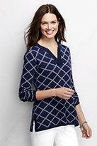 Classic Women's Petite Cotton Jacquard Tunic Sweater-Velvet Plum Jacquard Floral