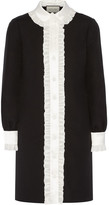 Gucci Ruffle-trimmed Wool And Silk-blend Crepe Shirt Dress - Black