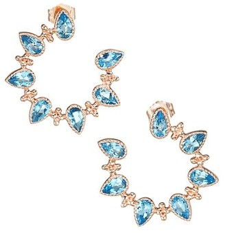 My Story The Piper 14K Rose Gold & Blue Topaz Front-Facing Hoop Earrings