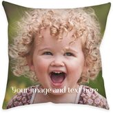 Square Dual Sided Photo Burlap Throw Pillow
