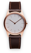 Uniform Wares C33 Women's two-hand watch in PVD rose gold with grey textured calf leather strap
