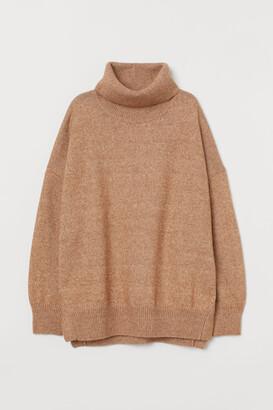 H&M Knit Cowl-neck Sweater - Beige