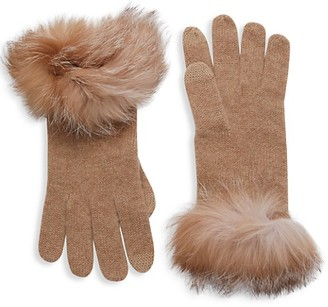 Amicale Fox Fur Cashmere Gloves
