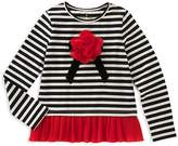 Kate Spade Girls' Striped Tee with Ruffled Hem - Big Kid