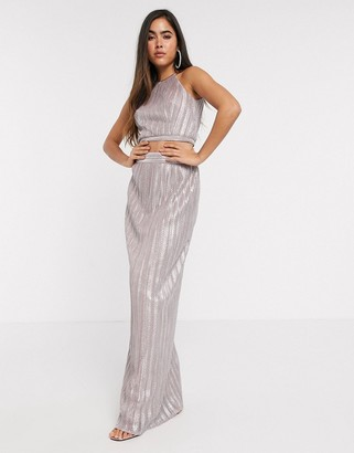 TFNC pleated maxi skirt in pink metallic