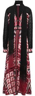 Amanda Wakeley Draped Fil Coupe-paneled Silk-twill Maxi Dress