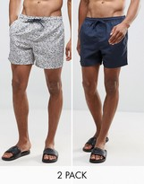 Brave Soul Bravesoul 2 Pack Swim Shorts in Solid Navy and Ditsy Print
