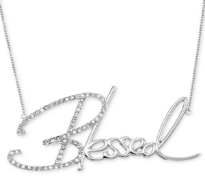 """Simone I. Smith Swarovski Crystal """"Blessed"""" Pendant Necklace in Platinum over Sterling Silver, 18"""" + 4"""" extender (Also Available in 14K Gold over Sterling Silver)"""