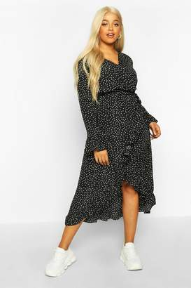boohoo Plus Polka Dot Ruffle Wrap Midi Dress