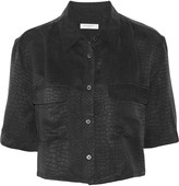 Equipment Signature cropped silk-jacquard shirt
