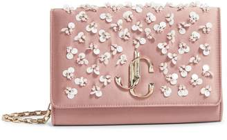 Jimmy Choo Embellished Satin and Leather Varenne Clutch Bag