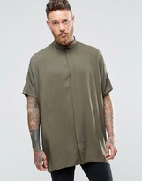 Asos Oversized Shirt With Dropped Shoulder In Khaki And Short Sleeves