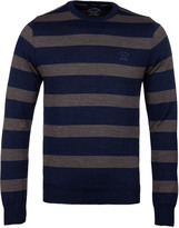 Paul & Shark Knitted Stone Stripe Crew Neck Sweater