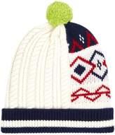 Burberry Fair Isle Bobble Hat, White
