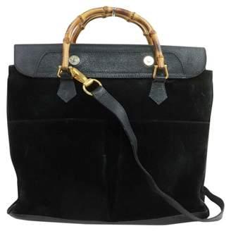 Gucci Bamboo Navy Suede Handbags