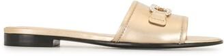 Salvatore Ferragamo Gold Gancini Detail Open Toe Sandals