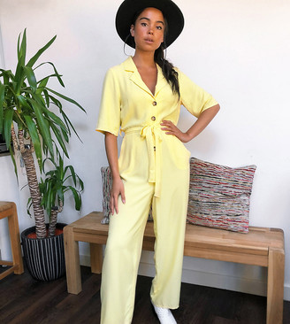 Reclaimed Vintage inspired boiler jumpsuit in yellow