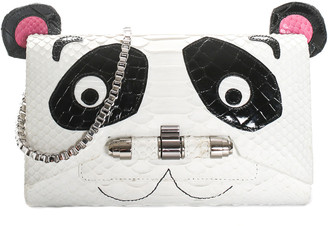 Kara Ross White Python, Ostrich, & Alligator Leather Panda Clutch, Never Carried