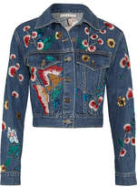 Alice + Olivia Chloe Embroidered Sequined Denim Jacket - Mid denim