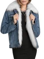 AVEC LES FILLES Faux Fur Trim Denim Jacket
