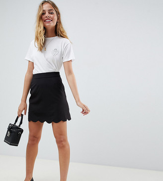 Asos DESIGN Petite tailored a-line mini skirt with scallop hem