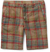 Massimo Alba Vela Watercoloured-dyed Checked Linen Shorts - Brown