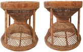 One Kings Lane Vintage Wicker and Cane Stools - Set of 2 - Tobe Reed - brown