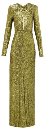Dundas Plunge-keyhole Sequin Gown - Green
