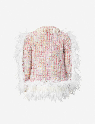 Huishan Zhang Cecil pearl-embellished feather-trim tweed jacket