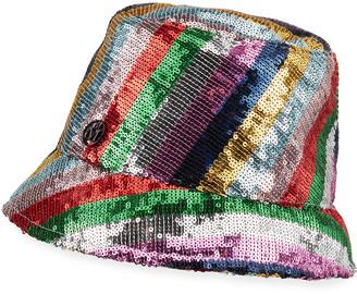 Maison Michel Souna Stripey Sequined Bucket Hat