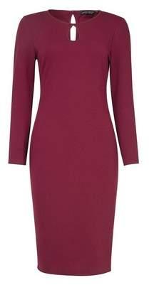 Dorothy Perkins Womens Purple Long Sleeve Keyhole Bodycon Dress, Purple