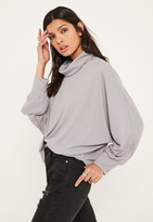 Missguided Grey Turtleneck Batwing Sweater