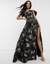 Bariano one shoulder prom dress with thigh split in navy jacquard print