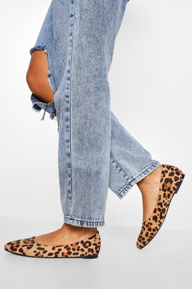 boohoo Wide Fit Leopard Pointed Toe Ballet Pumps
