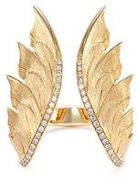 Stephen Webster Diamond 18k yellow gold feather open ring