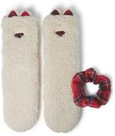 Dearfoams Sherpa Flurry Slipper Sock with Scrunchie
