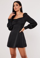 Missguided Black Satin Milkmaid Skater Dress