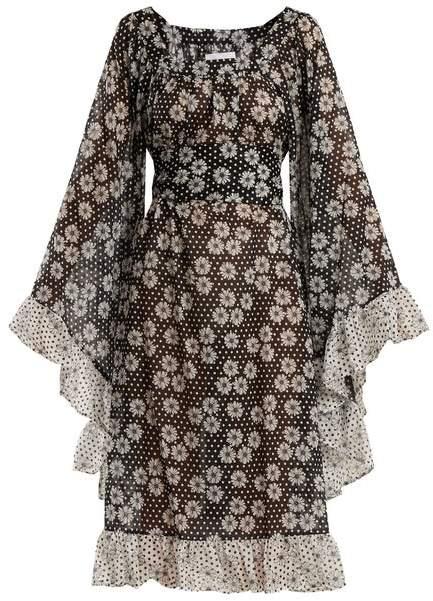 Lisa Marie Fernandez Anita Polka Dot And Daisies Print Dress - Womens - Black White