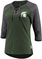 Unbranded Women's Pressbox Green Michigan State Spartans Skylar Raglan Lace-Up T-Shirt